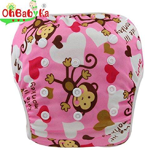 Ohbabyka Couche de bain réglable réutilisable pour bébé garçon ou fille