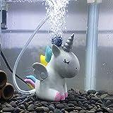 Piedra de aire/pecera decoraciones de acuario pequeños adornos accesorios peces esconde piedra de aire lindo unicornio (unicornio)