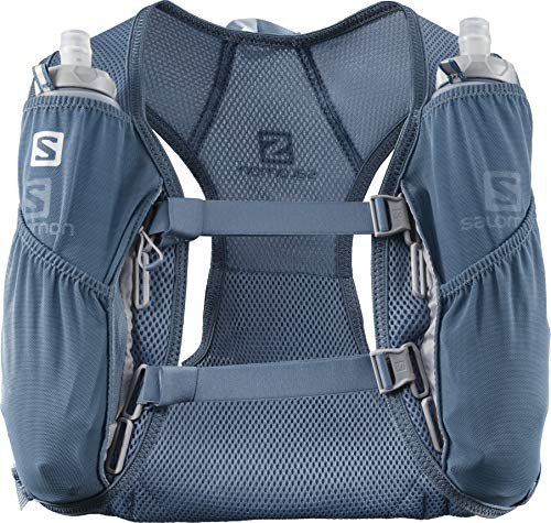 Salomon AGILE 2 SET Mochila de running ligera, 2 botellas SoftFlask 500 ml incluidas, LC1306200, 2L, Azul (Copen Blue)