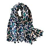 FENICAL Bufanda de leopardo de las mujeres Animal Print bufanda Bufanda larga de algodón bufanda del mantón del regalo Bufanda del estampado de leopardo