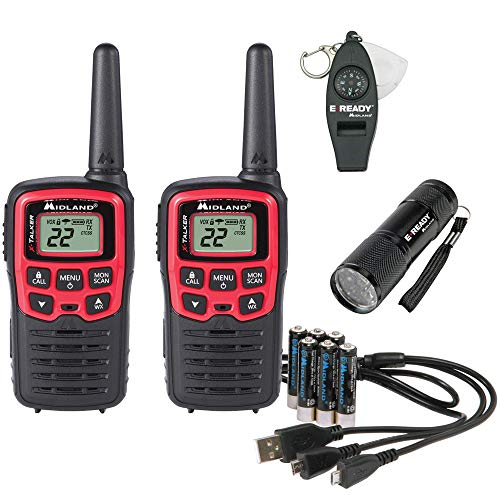 Midland-EX37VP, E+Ready Emergency Two-Way Radio Kit-Pair of T31VP FRS Two-Way Radios, 9 LED Flashlight, Whistle With Compass and Temperature Gauge, In SoftShell Carrying Case (Pair Pack). Buy it now for 49.99