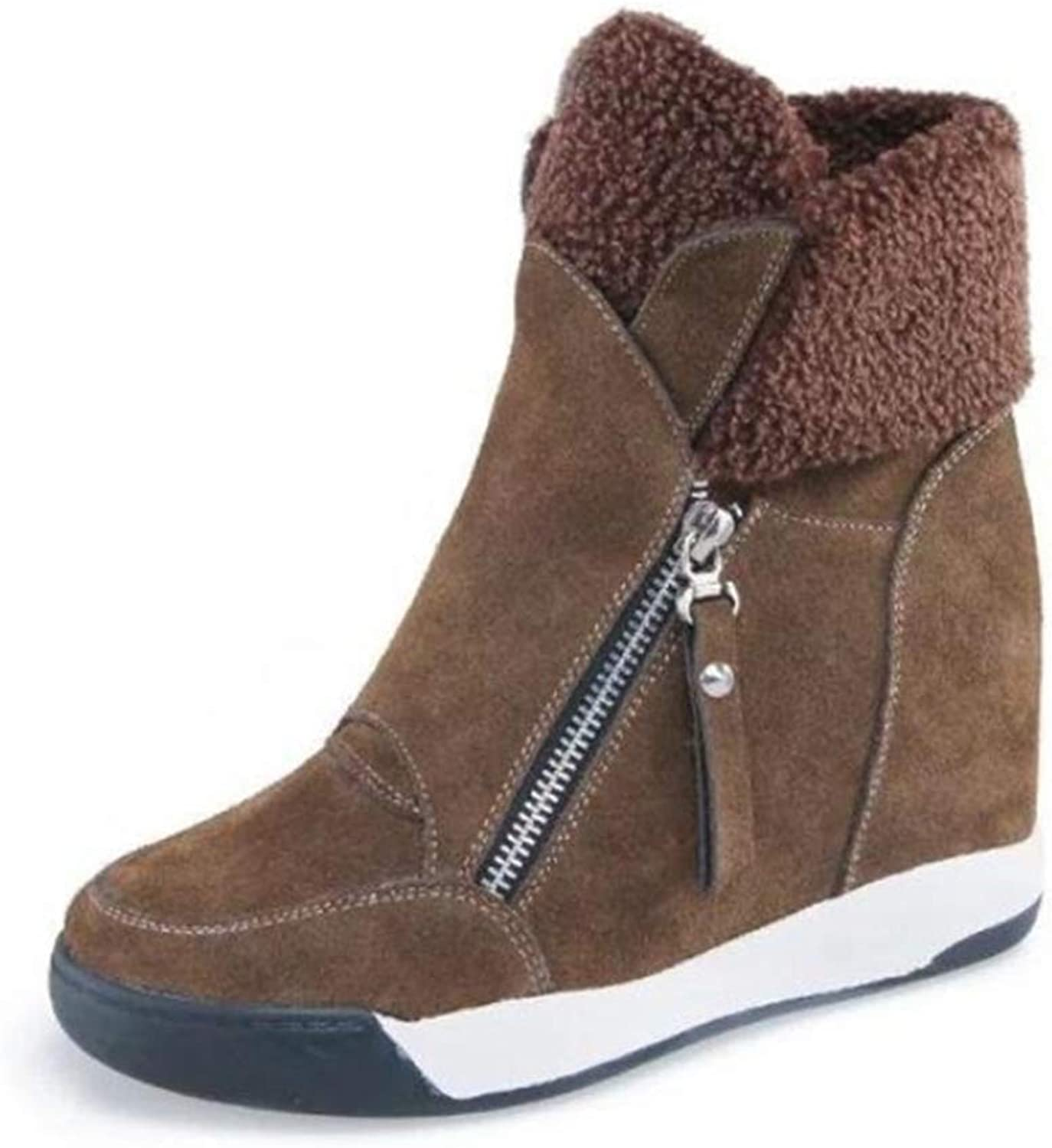 Super frist Women's Ankle Boots Fur Wedge Boots Winter Boots Snow Boots Block shoes