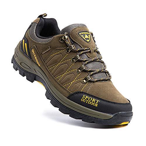 Zapatillas Trekking Hombre Antideslizantes Zapatos de Senderismo Transpirable Botas Montaña Bajas al Aire Libre 1 Verde Talla 44 EU