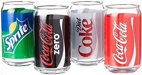 Luminarc Coca-Cola Assorted Decorated Glass Cans, Includes Coke, Diet Coke, Coke Zero and Sprite, 16 oz (Set of 4)