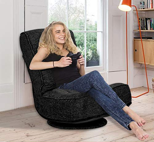 High Back Folding Floor Gaming Chair,360-Degree Swivel Floor Lazy Sofa Chair,High Back Padded Backrest Lounger Sleeper Game Rocker for Teens Adults,Black