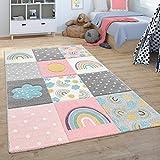 Paco Home Kinderteppich Teppich Kinderzimmer Spielteppich Regenbogen Wolken Rosa Grau Weiß, Grösse:160x230 cm