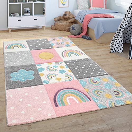 Paco Home Alfombra Dormitorio Infantil De Juegos Arcoíris Nubes En Rosa Gris Blanco, tamaño:120x170 cm