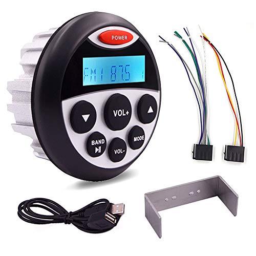 Doneioe Yate BT Voice Box Radio marina Motocicleta USB Aluminio fundido Reproductor de MP3 impermeable Reproductor de MP3 impermeable BT o Barco Radio Reproductor de MP3 estéreo marino