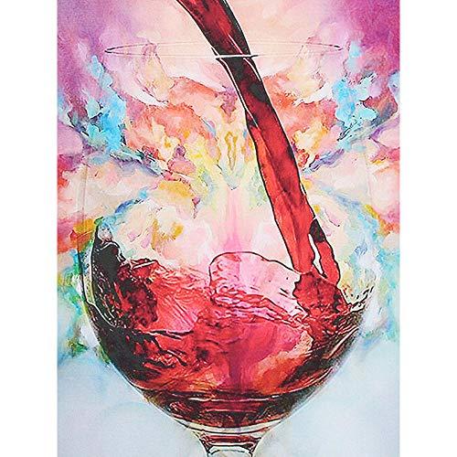 5D Diamant Schilderij Kits Volledige Boor Rode Wijn Glas Grote DIY Diamant Borduurwerk Ronde Strass Steentjes Cross Stitch Mozaïek Kunst Geschenken voor Volwassenen Beginners Zxx5D 50x60cm