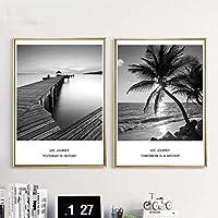 シービーチブリッジサンセットランドスケープウォールアートキャンバスポスターとプリント北欧絵画リビングルームの壁の写真家の装飾50x70cm-2ピースフレームレス