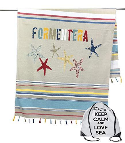 Tex Family - Toalla de playa de Fouta Formentera, tamaño grande, 100 x 200 cm, con mochila Keep Calm FRMENT