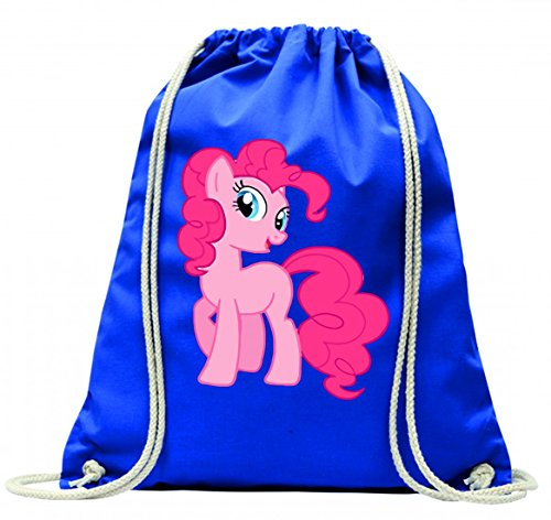'Turn Bolsa 'Animales de dibujos animados de niños de comic de Niedlich de caballo de Pony de juguete de color rosa con cordón–100% algodón de bolsa Con Asas De Mochila de bolsa de deporte, azul
