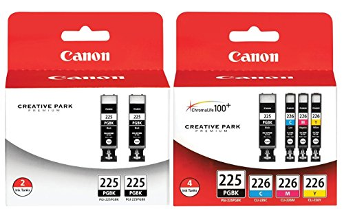 Genuine Canon PGI-225/CLI-226 Ink Tank Combo Pack (4530B008) + Canon PGI-225 Black Ink Cartridge Twin Pack (4530B007)