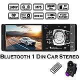 Boomboost 1 Din Autoradio Auto Audio Stereo Autoradio Bluetooth USB AUX FM Radio Unterstützung Rückfahrkamera und Lenkradfernbedienung