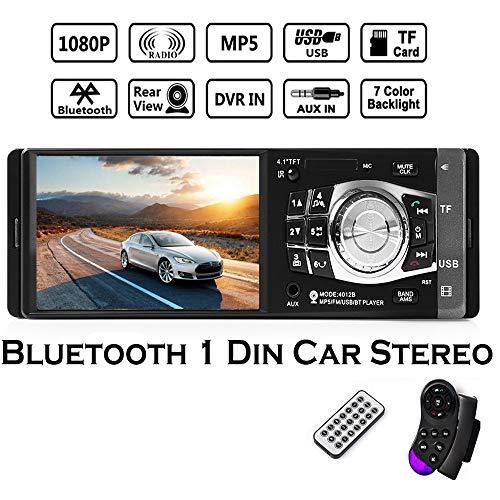 Boomboost 1 DIN Car Radio Auto Audio Estéreo Autoradio Bluetooth USB AUX FM Radio Soporte Cámara de visión Trasera y Volante Control Remoto