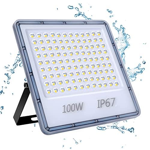 100W Focos LED Exterior, YIQIBRO 10000LM 6500K Blanco Frío Superbrillante Foco LED, IP67 Impermeable Luces LED Exterior, Aplique Pared Exterior para Patio Trasero, Puertas, Garaje, Pasillo, Ja
