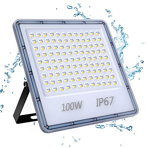 100W Focos LED Exterior, YIQIBRO 10000LM 6500K Blanco Frío Superbrillante Foco LED, IP67 Impermeable Luces LED Exterior, Aplique Pared Exterior para Patio Trasero, Puertas, Garaje, Pasillo, Jardín