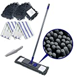 Flat Dust Mop with 3PCS Chenille and Microfiber Mop Pads Refills Adjustable Handle Cleaning Comb Magic Sweeping Cleaning Mop for Hardwood Laminate Tile Vinyl Ceramic Floors