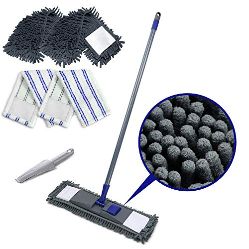 Masthome Flach Mopp mit 4 Mop Nachfüllungen Chenille Pads,Bodenwischer Wischer Für Schnelle Reinigung,Send Scraping Dust Tool