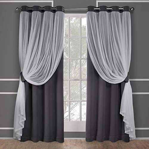 Exclusive Home Curtains Catarina Layered Solid Blackout and Sheer Window Curtain Panel Pair with Grommet Top, 52x84, Black Pearl, 2 Count