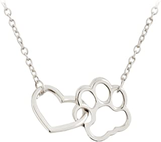 MIXIA Cat Dog Puppy Paw Print Stamped Pet Memorial Pendant Necklace Love Heart Necklace Jewelry