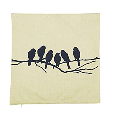 CoolDream Cotton Linen Square Decorative Throw Pillow Case Cushion Cover Bird Branch with Birdcage 18 X18