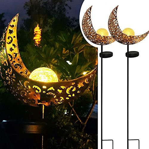 73HA73 Moon Garden Lámpara de Proyección Hueca de Metal Luz de Llama Solar para Decoración Distintiva al Aire Libre Paisaje Lámpara de Césped Solar Paquete de 2,