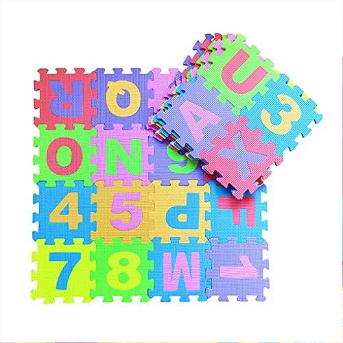 DANDANdianzi 36pcs Zahlen Stil Childerns Puzzlematten Baby-Spiel Spielen Interlocking Eva-Schaum Fußboden-Auflage-Sets