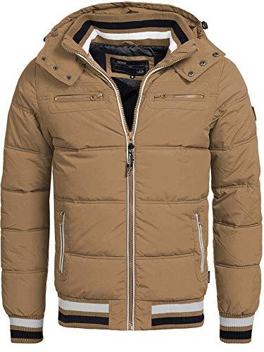 Indicode Herren Marlon Steppjacke in Daunenjacken-Optik mit Abnehmbarer Kapuze | warme Winterjacke gefütterte Übergangsjacke Regenjacke mit 6 Taschen Jacke für Männer Cub S