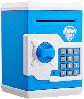 Bylion Electric Digital ATM Money Safe Box Coin Saving Piggy Bank with Password Code Combination Lock for Kids and Adults - Blue and White