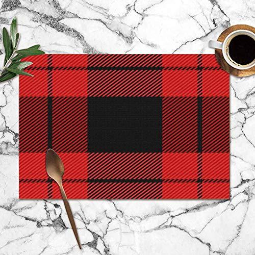 Tartan schottengeruit, abstract, wasbaar, placemats voor eettafel, dubbele stof, bedrukt, polyester, placemats voor keuken, tafel, set met 6 tafelkleden, 30,5 x 45,7 cm