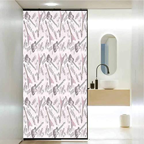 Película de cristal para puerta de ducha, diseño de decoración de música con guitarras zapatos cráneos Crossbon, baño oficina, sala de reuniones sala de estar, ventana membrana, 23.6 x 47.2 pulgadas