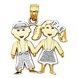 14k REAL Two Tone Gold Boy & Girl Charm Pendant