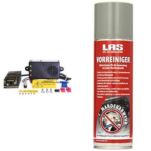 Mardersicher Mobil MS12V (Marderschreck mit Ultraschall+Hochspannung) and LAS 16265 Vorbehandlungsspray Marder Duftmarken-Entferner