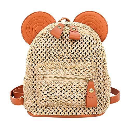 FBGood Mode Patchwork Stroh Rucksack, Damen Strand Taschen Studenten Schulranzen Großer Kapazität Reisetasche Schultaschen Handtasche Freizeit Umhängetasche