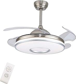 OUKANING Ventilador de techo con iluminación y mando a distancia, 42 inches, lámpara LED de techo, alas plegables, moderna lámpara de techo para dormitorio, salón comedor (Blanco)