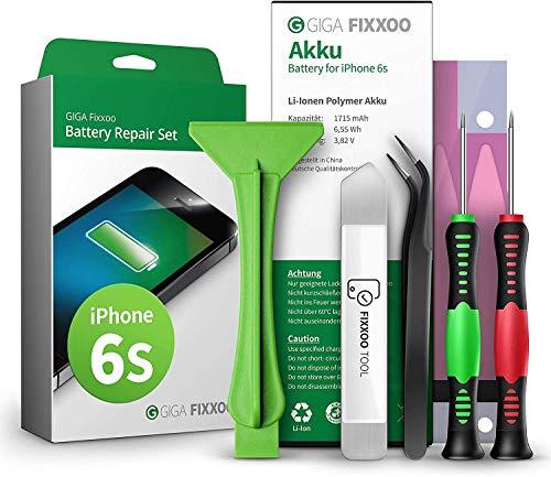 GIGA Fixxoo Akku Reparaturset kompatibel mit iPhone 6s | Einfacher Austausch mit Anleitung und Werkzeug im Set bei Defekter Batterie, schnelles Wechseln