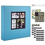 Benjia - �lbum de fotos tradicional autoadhesivo, gran formato en blanco, autoadhesivo, tejido con adhesivo para 10 x 15, 11,5 x 15 y 13 x 18 (50 hojas/100 páginas, Teal)