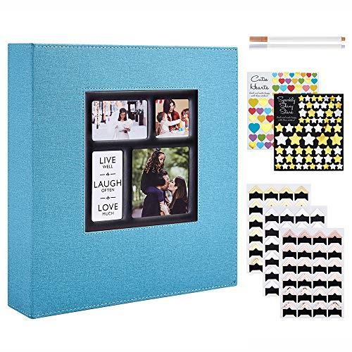 Benjia - Álbum de fotos tradicional autoadhesivo, gran formato en blanco, autoadhesivo, tejido con adhesivo para 10 x 15, 11,5 x 15 y 13 x 18 (50 hojas/100 páginas, Teal)