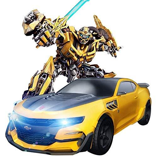 Decoración de escritorio 2.4G RC Transformar abejorro Stunt Car Robot sonidos de las luces 360 ° Rotación Drift Deformación Autobots Camión articulado niños cumpleaños de los muchachos de Navidad del