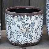 Bluebell Yard Rond Classique Stoke Bleu et Blanc en céramique émaillée Floral Pot de Fleurs