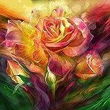 ZXlDXF Pintura por números para adultos Kit de pintura al óleo acrílico para niños lienzo decoración de la pared del hogar flores de colores brillantes 40,6 x 50,8 cm