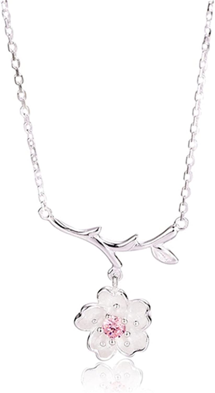 ZHUIGUANG Cherry Blossom Shaped Necklace Flowers Tree Branches Pendant with Rhinestone Choker Chain Necklace Collar Necklace