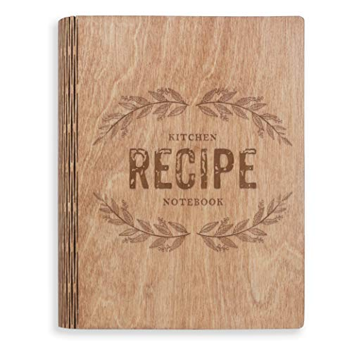 A5 Wooden Blank Recipe Book to Write in (7.5 x 6 inch) - Cook Book with 80 Sheets for Handwritten...