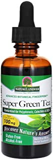 Nature's Answer Super Green Tea Supplement Alcohol Free 2 Ounce | Natural Fat Burner | Weight Management | Energy Booster