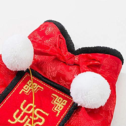 DishyKooker Warmes Party-Kostüm Winter Fleece-Kleidung mit rotem Umschlag für Neujahr, rot, xs