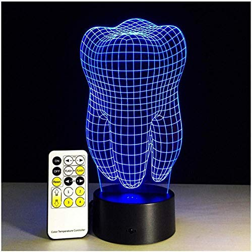 Luces nocturnas Dientes nocturnos Luces nocturnas 3D Luces de humor variable RGB Luces LED DC 5V Luces decorativas USB con control remoto táctil Decoración del hospital