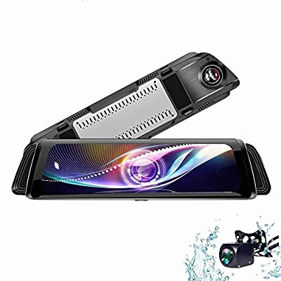 CHEZAI Mirror Dash Cam 10 Inch Streaming Media 1080P Touch Screen, 170° Wide Angle Front Car Camera Video Recorder and Waterproof Rear Camera from SPRIS