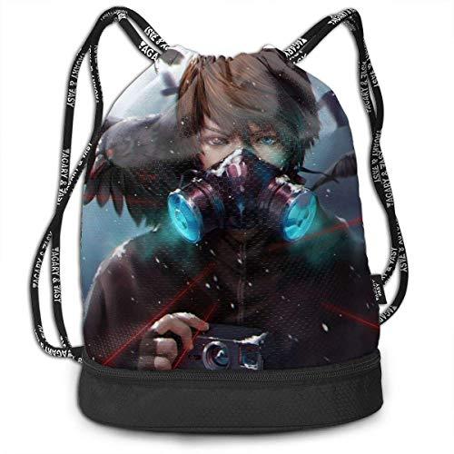 KINGAM Crow Camera Máscara de gas de sangre para pájaros, mochila con cordón para gimnasio, deportes, bolsa de cuerda, escuela, yoga, niños, hombres y mujeres, mochilas de viaje