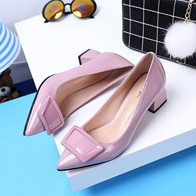 Xue Qiqi Court Schuhe Low-Heeled Spitzen Hochhackigen Schuhe Rot Hochzeit Schuhe Schuhe Flach Lackleder mit Dicken mit Damenschuhen B07F3JRD7X  Wartungsfähigkeit